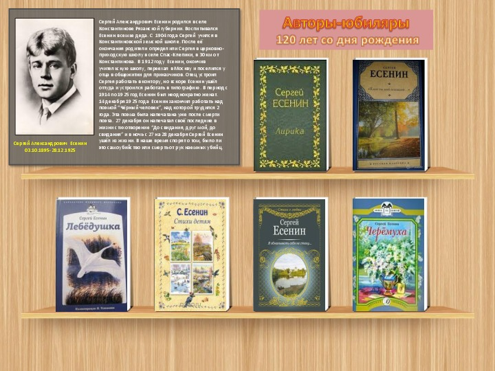 Выставка книг, посвящённая 120-летию со дня рождения Сергея Есенина